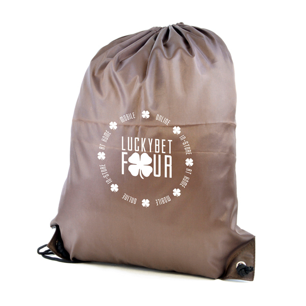 Promotional Polyester Drawstring Bag - Brown