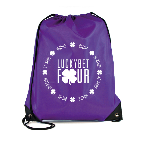 Promotional Polyester Drawstring Bag - Purple