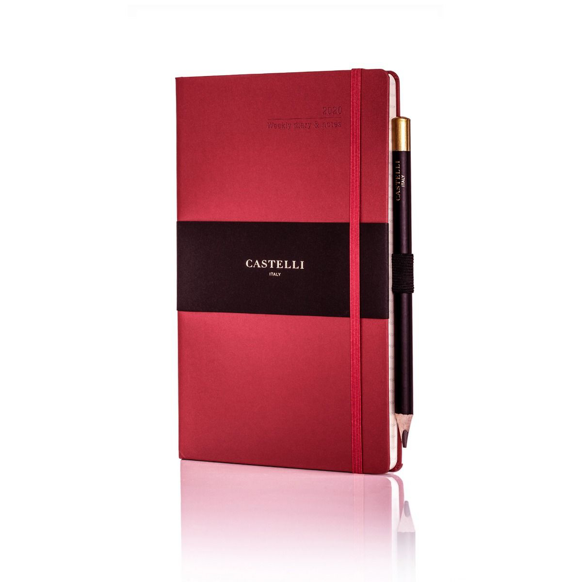 Ivory Matra Large Weekly Diary with Pencil - Red