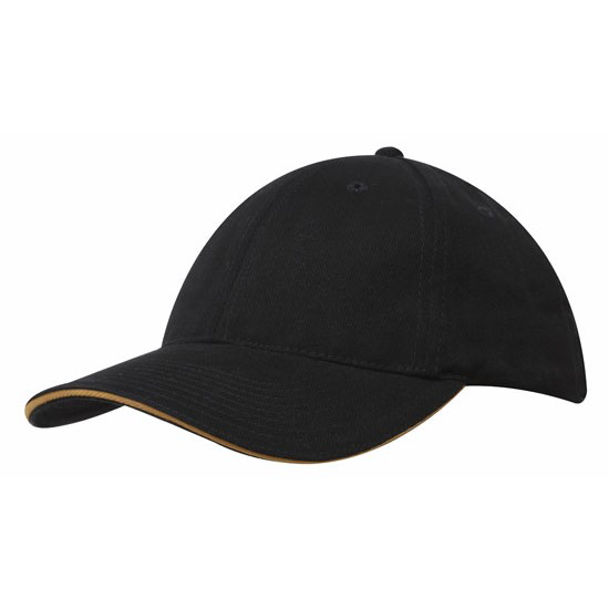 Sandwich Trim Brushed Heavy Cotton Cap - Black/Gold