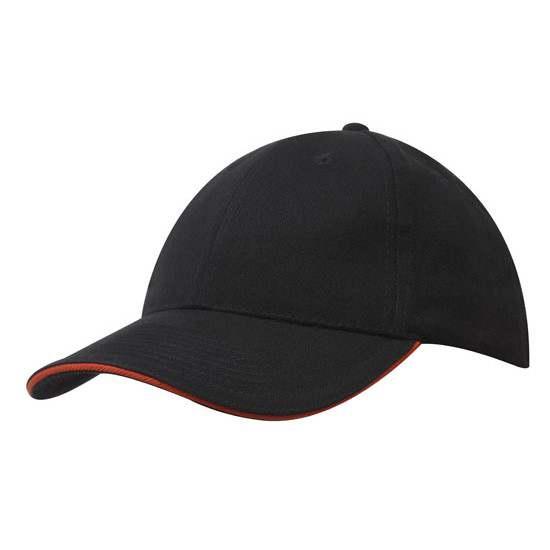 Sandwich Trim Brushed Heavy Cotton Cap - Black/Orange