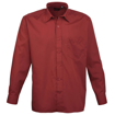 Mens Long Sleeve Poplin Shirt - Burgundy