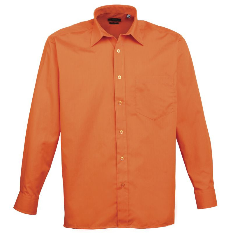 Mens Long Sleeve Poplin Shirt - Orange