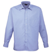 Mens Long Sleeve Poplin Shirt - Mid Blue