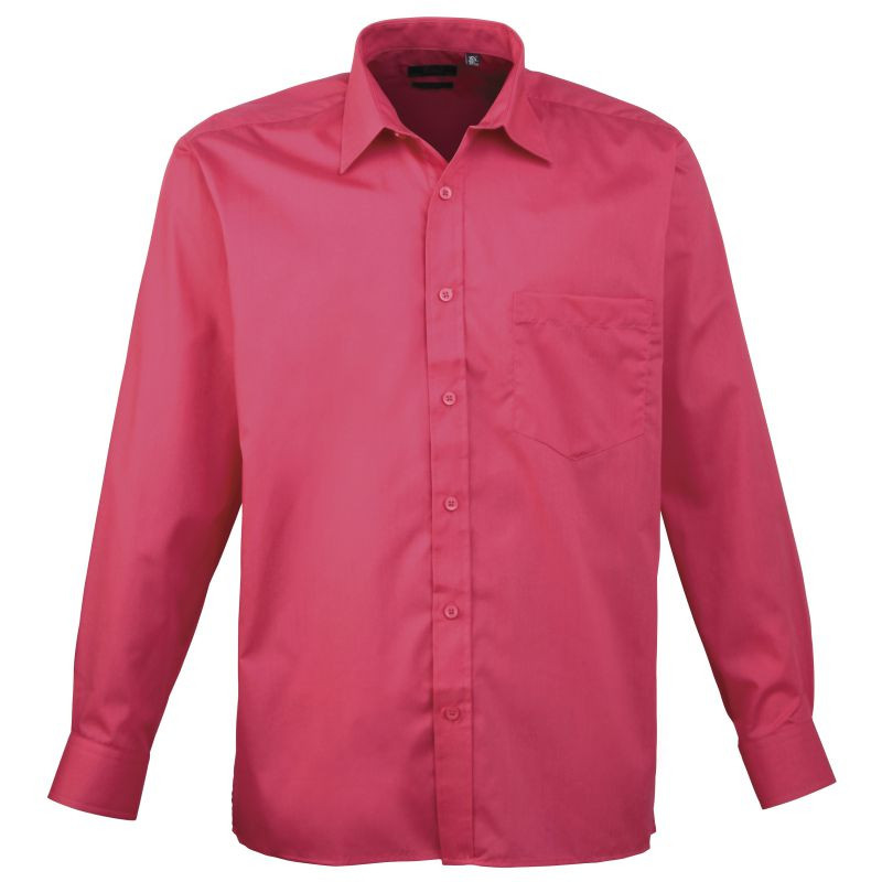 Mens Long Sleeve Poplin Shirt - Hot Pink