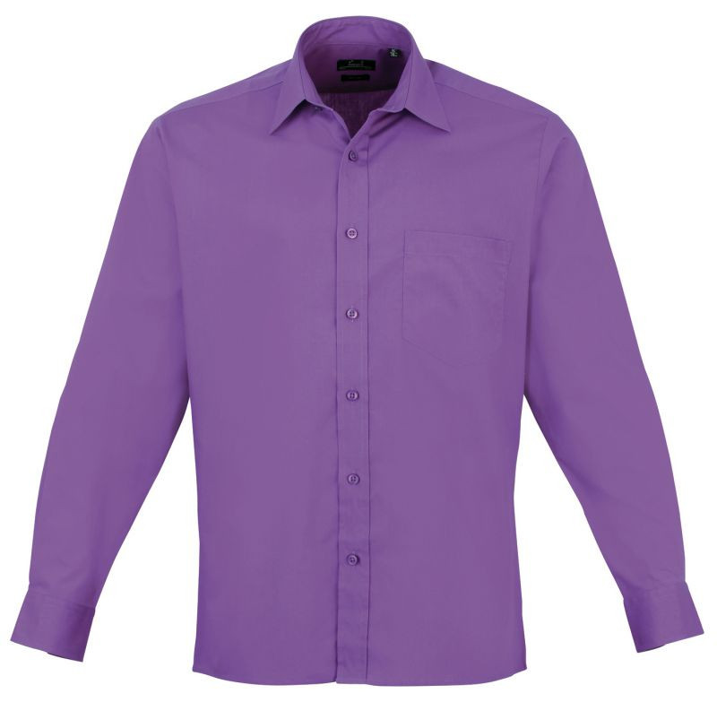 Mens Long Sleeve Poplin Shirt - Rich Violet