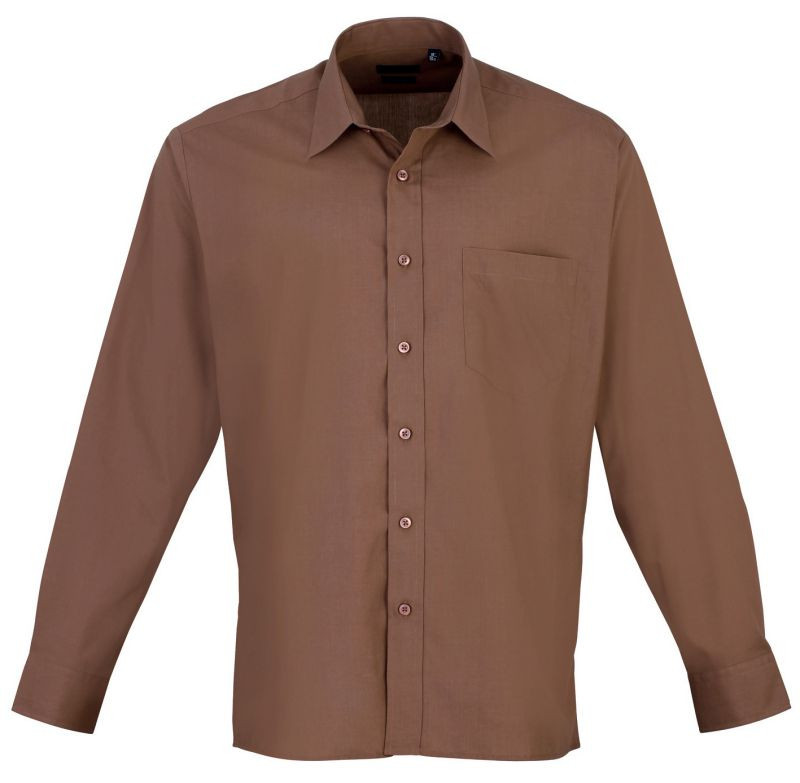 Mens Long Sleeve Poplin Shirt - Mocha