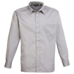 Mens Long Sleeve Poplin Shirt - Silver