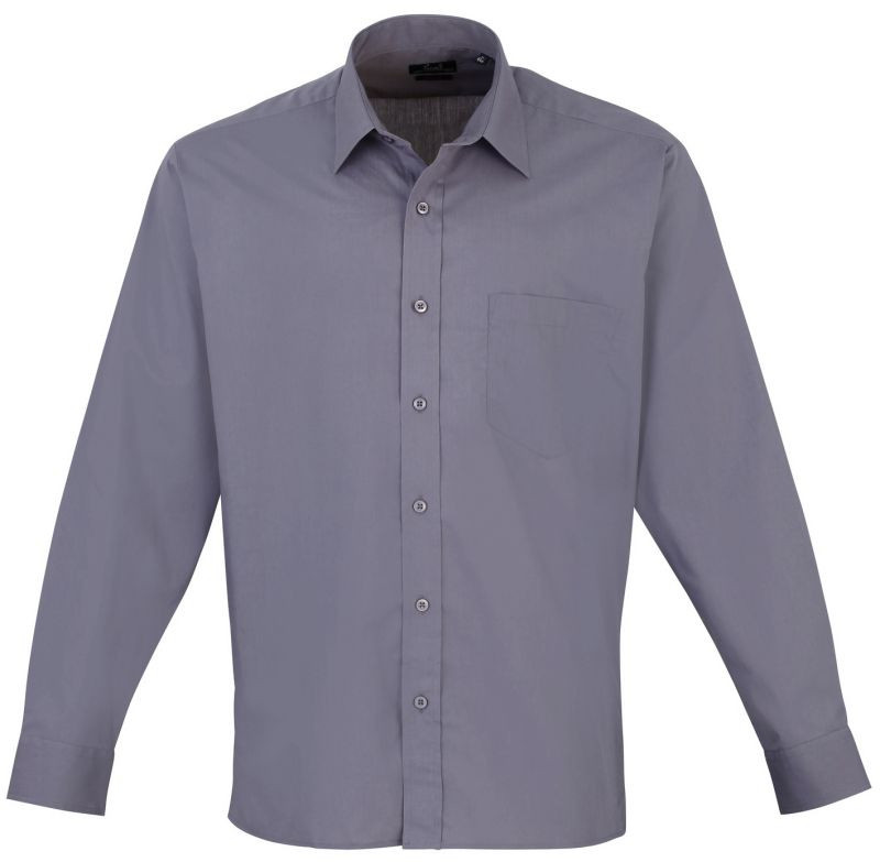Mens Long Sleeve Poplin Shirt - Steel